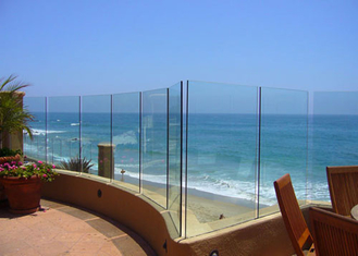 China Seaside Outdoor Glass Panel Railings , Toughened Glass Deck Railing 12mm supplier