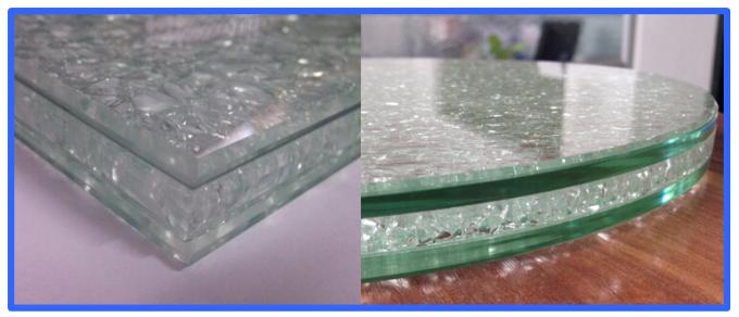 Office Furniture Cracked Ice Table Top Glass Laminated Transparent